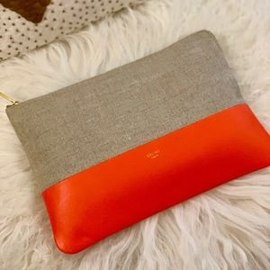 Celine Bags - Céline Two Toned Cancas Solo Pouch Clutch